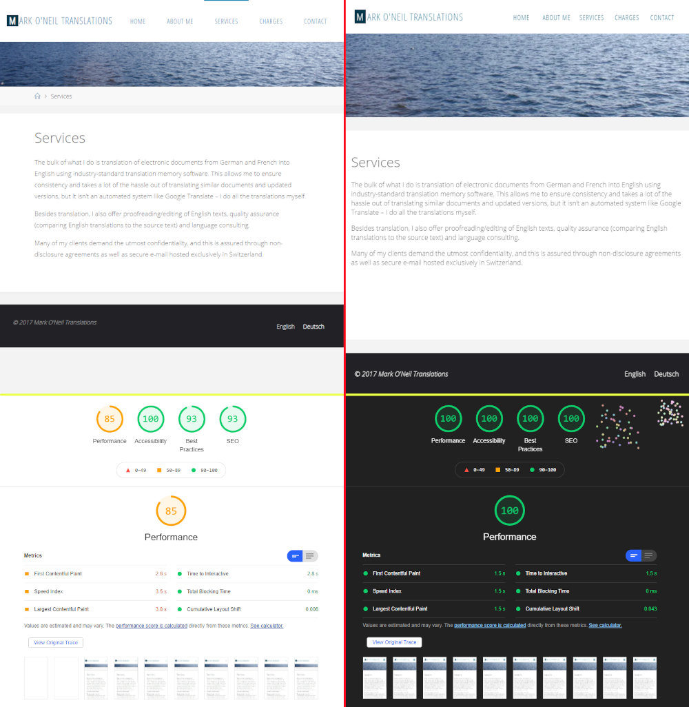 Side-by-side comparison of old and new websites showing 100% lighthouse scores across the board for new website